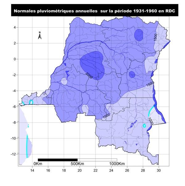 Normales pluviométriques annuelles de 1931 à 1960