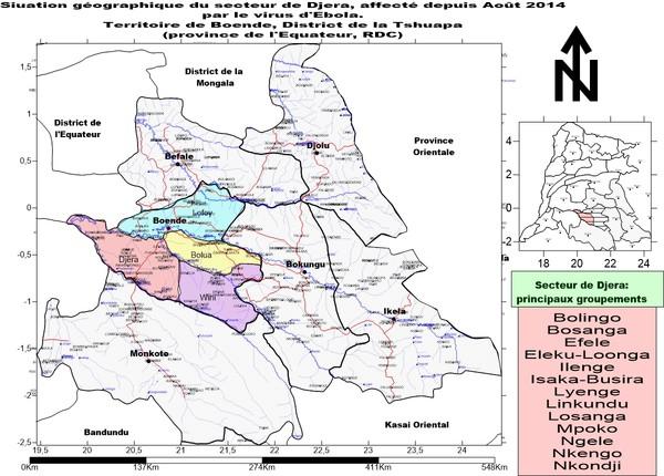 Djera, victime d'Ebola:situation géographique
