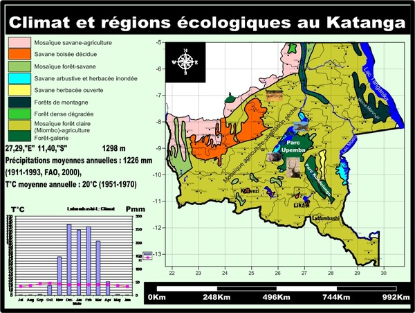 Climat et aires touristiques au Katanga