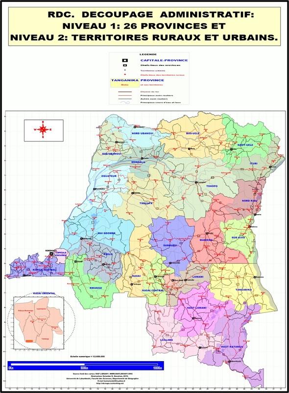 les cartes géographiques de la RDC